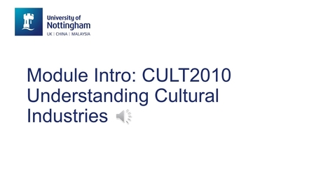 Thumbnail for entry CULT2010 Understanding the Cultural Industries.