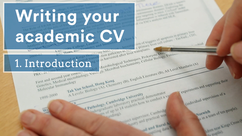 Thumbnail for entry Academic CVs - an introduction (1/5)