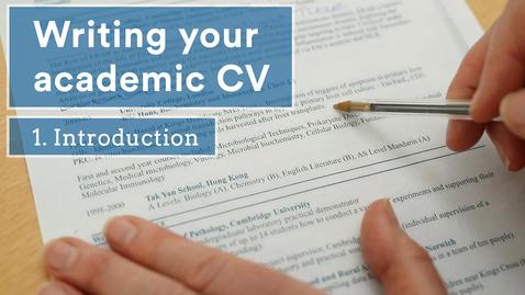 Thumbnail for entry Academic CVs - an introduction (1/5)