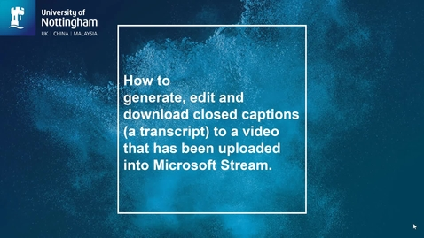 Thumbnail for entry Closed caption generation to a video in Microsoft Stream