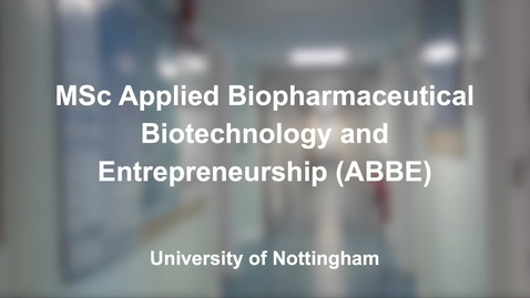 Thumbnail for entry MSc ABBE Course