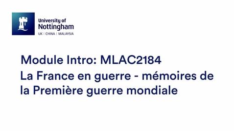 Thumbnail for entry MLAC2184 La France en guerre - mémoires de la Première guerre mondiale