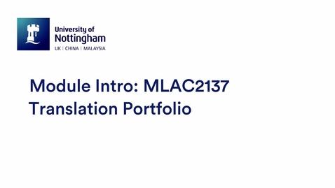 Thumbnail for entry MLAC2137 Translation Portfolio