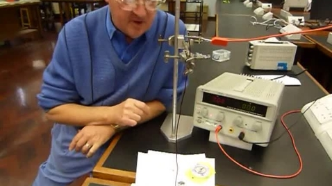 Thumbnail for entry Roger Bowley demonstrates the creation of a magnetic field by moving electric charges along a wire