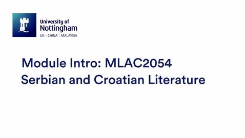 Thumbnail for entry MLAC2054 Serbian and Croatian Literature