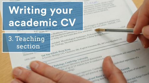 Thumbnail for entry Academic CVs - teaching section (3/5)