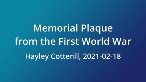 Thumbnail for entry Memorial Plaque from the First World War