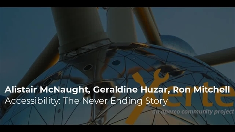 Thumbnail for entry Alistair McNaught,  Geraldine Huzar, Ron Mitchell - Accessibility: The Never Ending Story
