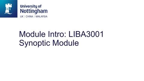 Thumbnail for entry LIBA3002 Synoptic Module