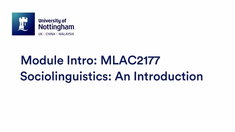 Thumbnail for entry MLAC2177 Sociolinguistics: An Introduction