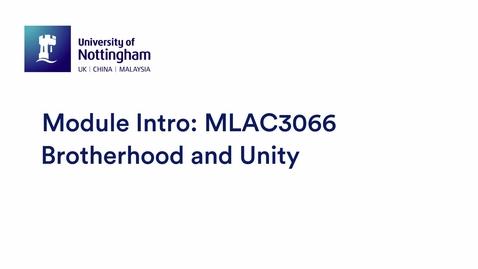 Thumbnail for entry MLAC3066 Brotherhood and Unity