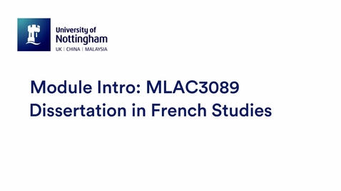 Thumbnail for entry MLAC3089 Dissertation in French Studies