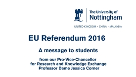 Thumbnail for entry The EU referendum and research – what does this mean for students?