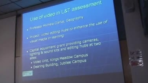 Thumbnail for entry February 2009 E-Learning  community - Michele Clarke - 'Use of video in L & T assessment'