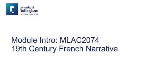 Thumbnail for entry MLAC2074 19th Century French Narrative