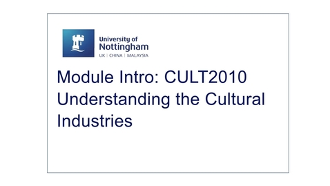 Thumbnail for entry CULT2010 Understanding Cultural Industries