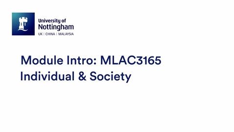 Thumbnail for entry MLAC3165 Individual & Society