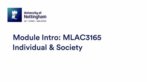 Thumbnail for entry MLAC3165 Individual & Society