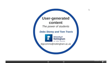 Thumbnail for entry UoNSMart: Debs Storey and Tom Travis - Student-generated Content