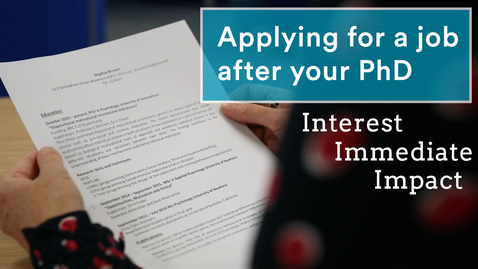 Thumbnail for entry Successful job applications for PhD students