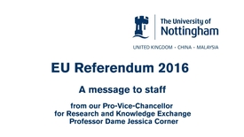 The EU referendum and research – what does this mean for staff?