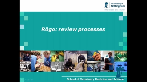 Thumbnail for entry Dr Liz Mossop - Rogo review processes, E-Learning  community - May 2014