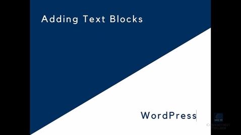 Thumbnail for entry WordPress: Adding Text Blocks