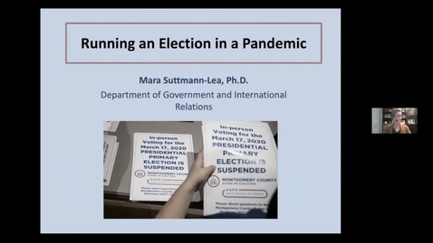 Thumbnail for entry Running an Election in a Pandemic with Professor Mara Suttmann Lea