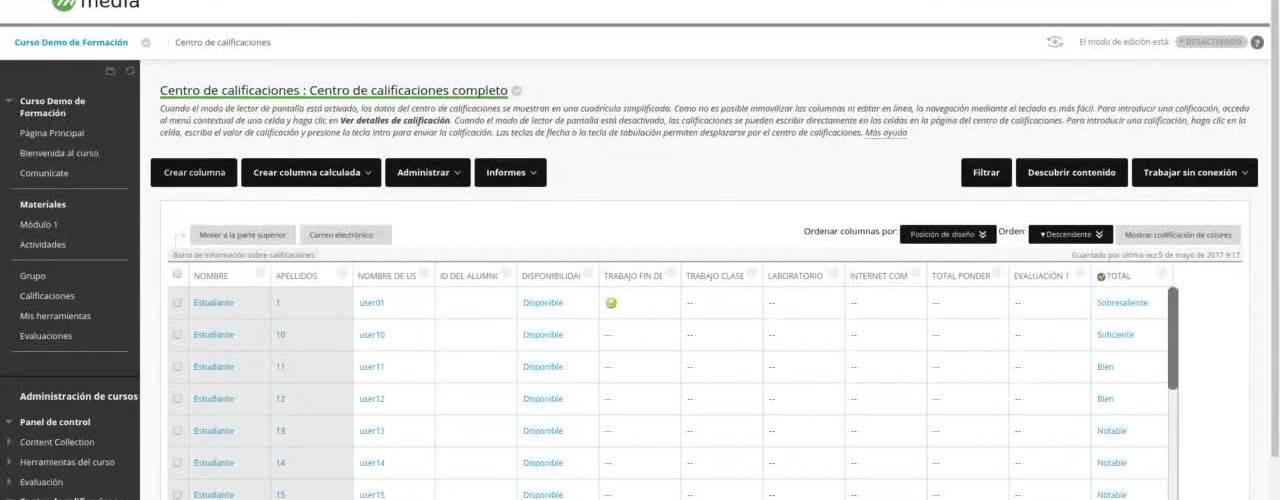 Centro de calificaciones: Organizar columnas