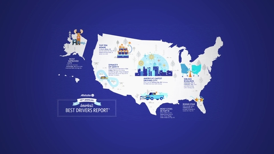 Allstate Americas Best Drivers Report - Us map with major cities sioux falls to henderson nv
