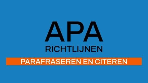 Thumbnail for entry 3/7 APA-richtlijnen 7e ed:  Parafraseren en Citeren