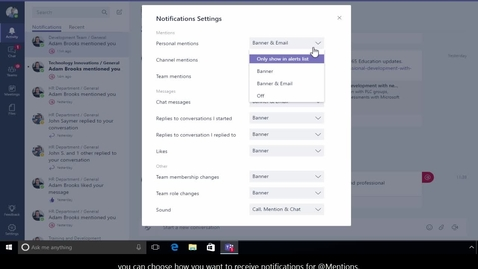 Thumbnail for entry Office 365 - Teams - How to manage notification settings