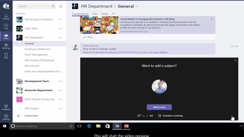 Thumbnail for entry Office 365 - Teams - How to organize quick meetings