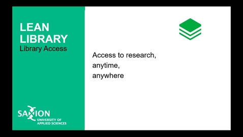 Thumbnail for entry Lean Library : access to research anytime, anywhere