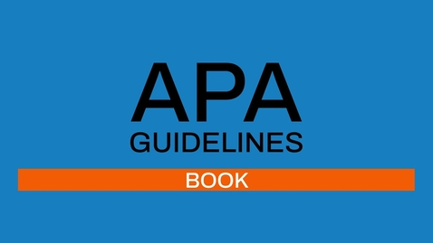 Thumbnail for entry 4/7 APA guidelines 7th edition: Book
