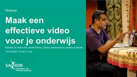 Thumbnail for entry ICT&O Webinar: Maak een effectieve video voor je onderwijs