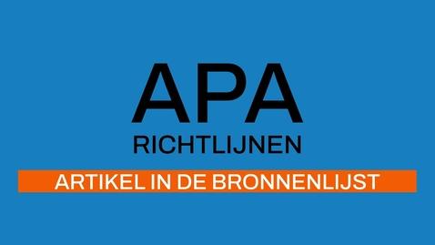 Thumbnail for entry 5/7 APA-richtlijnen 7e ed: Tijdschriftartikel