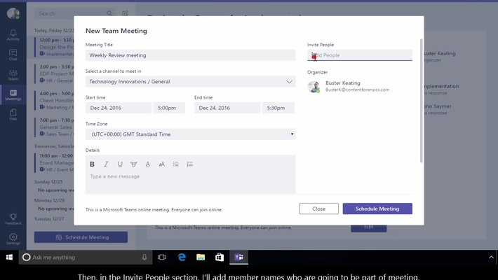 Office 365 - Teams - How to schedule meeting with team members