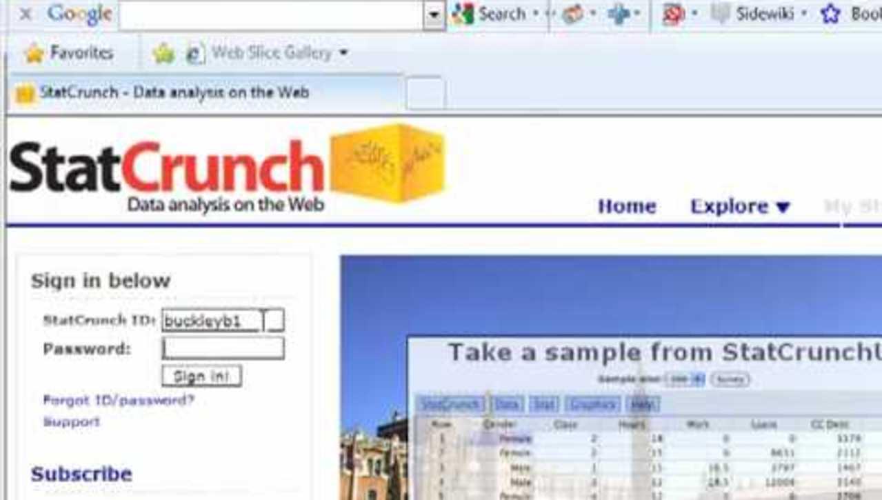 C54 - Creating a StatCrunch Account