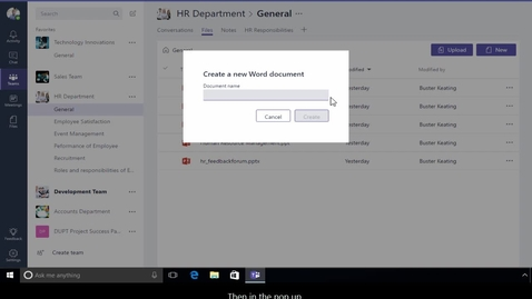 Thumbnail for entry Office 365 - Teams - How to create, upload or delete files