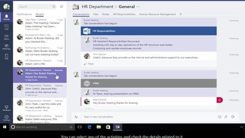 Thumbnail for entry Office 365 - Teams - How to view recent activities