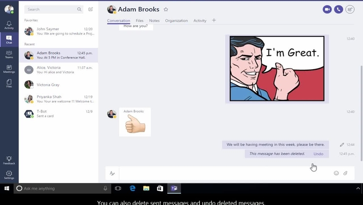 Office 365 - Teams - How to start a new conversation