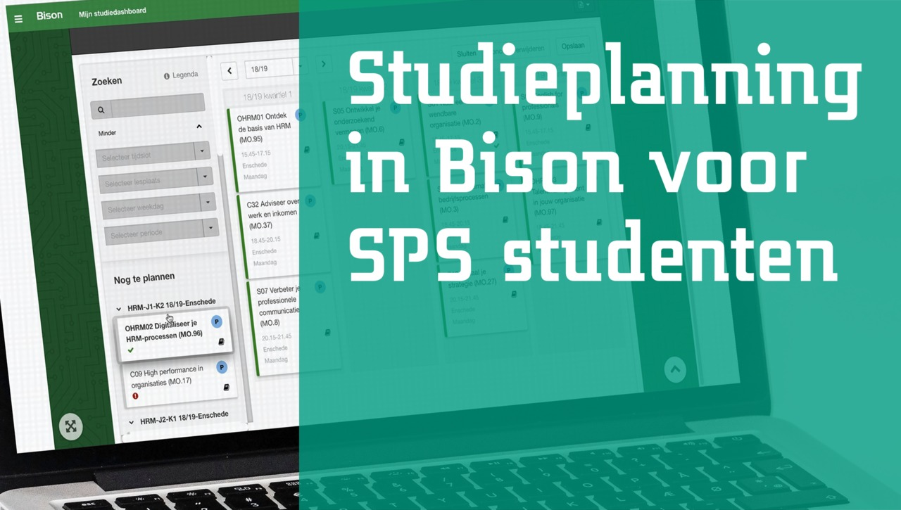 Studieplanning in Bison voor SPS studenten