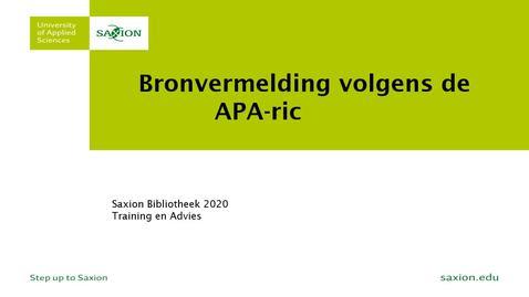 Thumbnail for entry APA richtlijnen