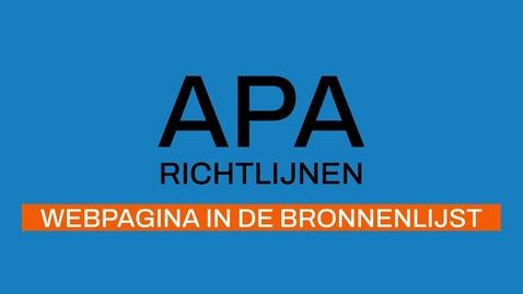 Thumbnail for entry 6/7 APA-richtlijnen 7e ed: Webpagina