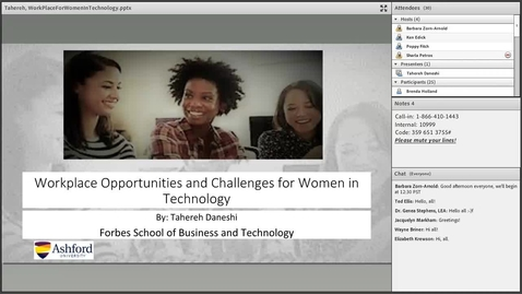 Dr. Tahereh Daneshi: Workplace Opportunities and challenges for Women in Technology