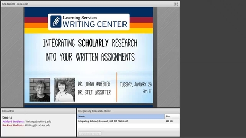 Thumbnail for entry GradWrites: Integrating Scholarly Research Webinar Recording