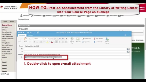 Thumbnail for entry How to Post an HTML Announcement in eCollege