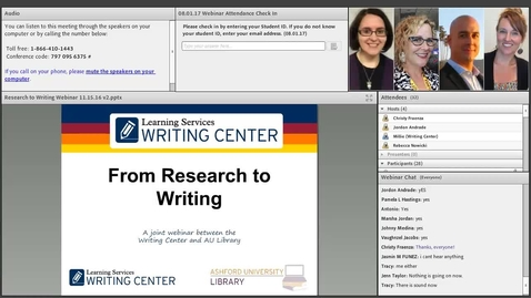 Thumbnail for entry From Research to Writing Library and Writing Center Webinar