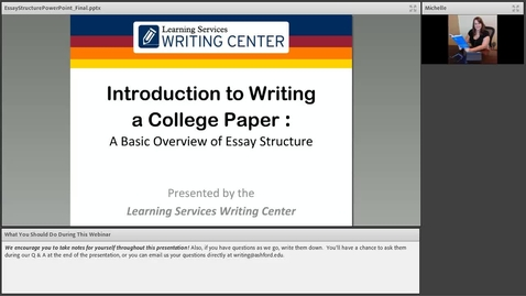 Thumbnail for entry Introduction to Writing a College Essay Webinar Recording